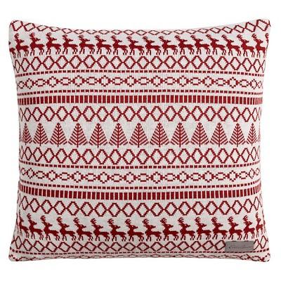"""Alpine Fair Isle Throw Pillow Red Clay (20""""x20"""") - Eddie Bauer®"""