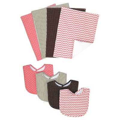Trend Lab 8 Piece Bib and Burp Cloth Set - Coral