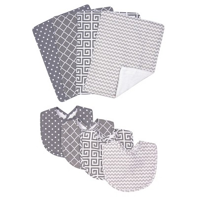Trend Lab 8 Piece Bib and Burp Cloth Set - Ombre Gray