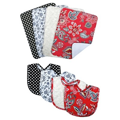 Waverly Baby® by Trend Lab Charismatic 8 Piece Bib and Burp Cloth Set - Red/Coral
