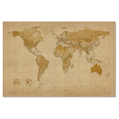 "Trademark Global Michael Tompsett 'Antique World Map' Canvas Art - 16"" x 24"""