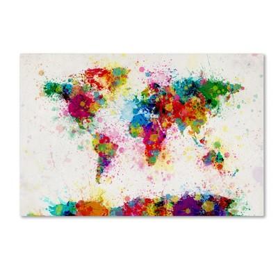 "Trademark Global Michael Tompsett 'Paint Splashes World Map' Canvas Art -18"" x 24"""