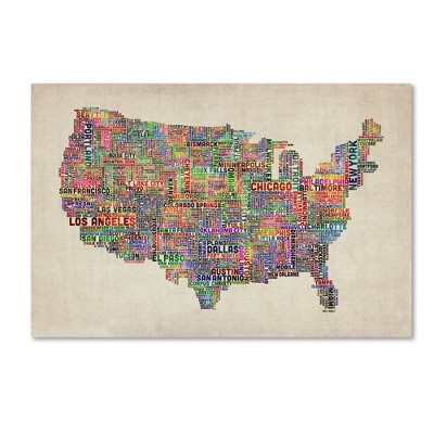 "Trademark Global Michael Tompsett 'US Cities Text Map VI' Canvas Art - 16"" x 24"""