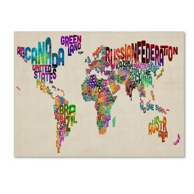 "Trademark Global Michael Tompsett 'Typography World Map II' Canvas Art - 18"" x 24"""