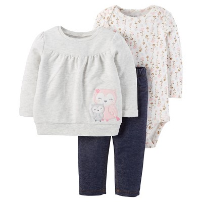 Baby Girls' 3-Piece Sweatshirt Set Owl Top with Jeggings Grey - Just One You Made by Carter's®. Shows more content
