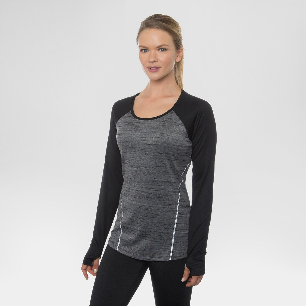 Women's Long Sleeved Space Dye Pieced Tee Black Combo L - Rbx, Size: Large