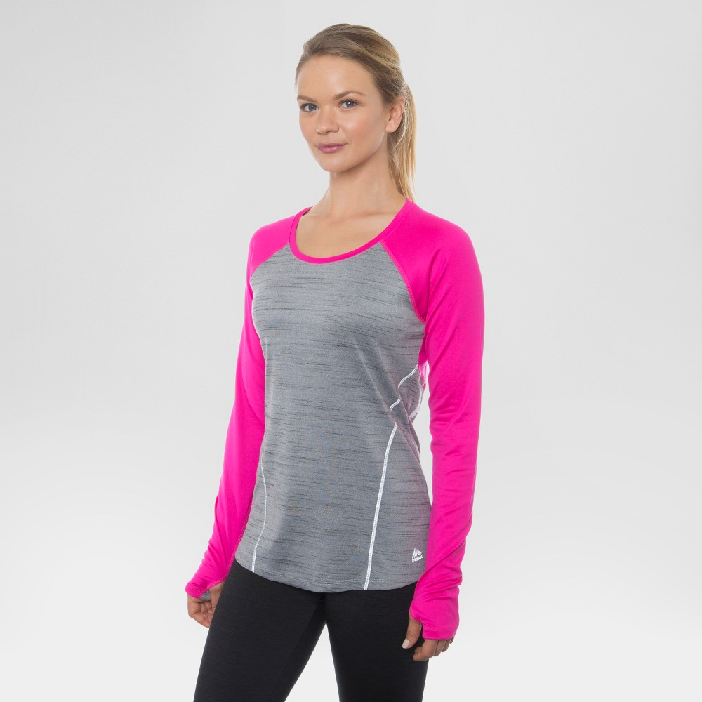 Women's Long Sleeved Space Dye Pieced Tee Grey Sky with Pink Combo XL - Rbx, Dazzle Pink