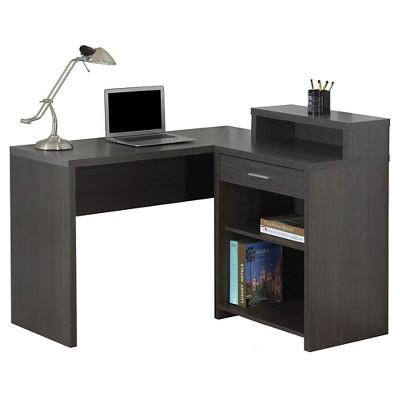Computer Desk with Corner Storage - Grey - Monarch Specialties