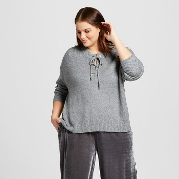 Women's Plus Size Lace-Up Sweater - Who What Wear™