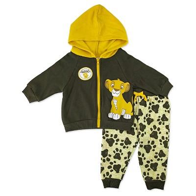 Baby Boys' Disney® Lion King Simba 2 Piece Hoodie & Pant Set - Brown 0-3M