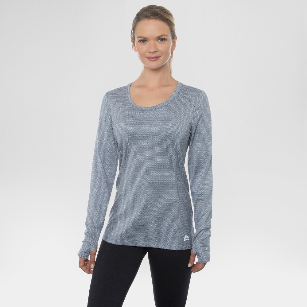 Women's Long Sleeved Peached Jacquard Striped Tee Platinum Grey Combo S - Rbx, Size: Small, Quartz Grey