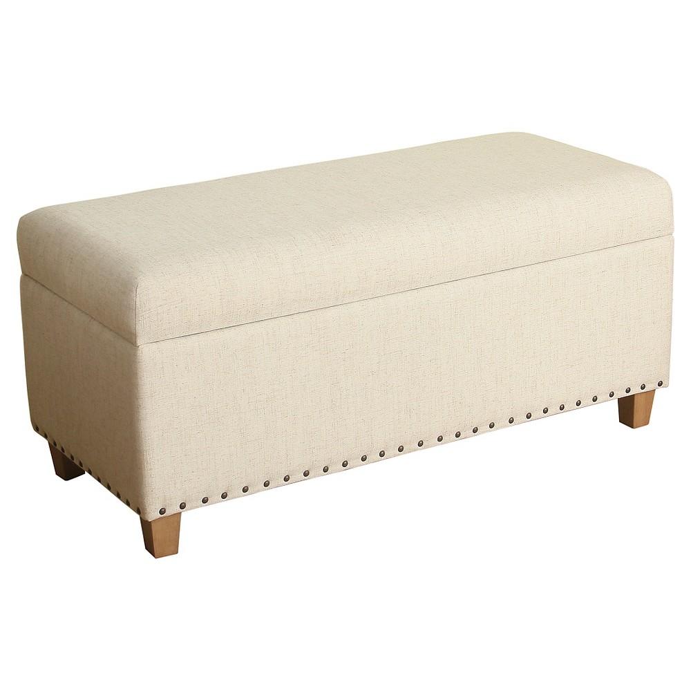 Lauren Small Storage Bench - HomePop, Natural Linen