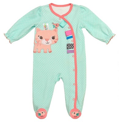 Taggies™ Baby Girls' Kitty Sleep N' Play - Aqua/Coral 3M