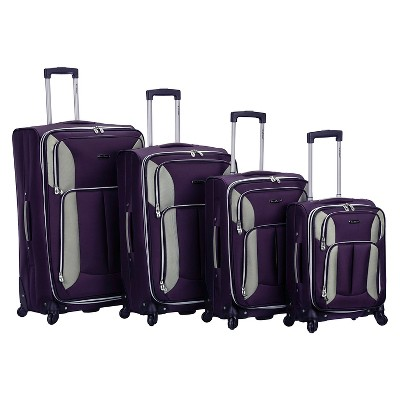 Rockland Impact 4pc Spinner Luggage Set - Purple