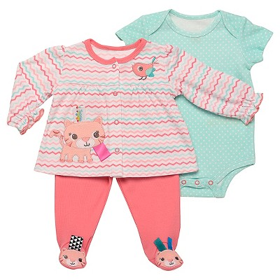 Taggies™ Baby Girls' Kitty 3 Piece Bodysuit Set - Aqua/Coral 6M