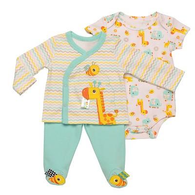 Taggies™ Baby Giraffe 3 Piece Bodysuit Set - Aqua/White 3M