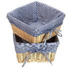 Badger Decorative Basket Wicker Set Of 2 - Navy Gingham