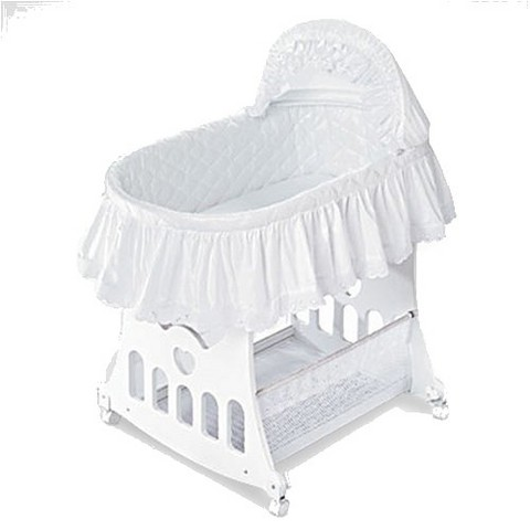 Badger Basket 2-in-1 Portable Bassinet with Toy Box Base- White