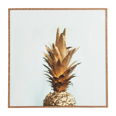DENY Designs Chelsea Victoria The Gold Pineapple Framed Wall Art 12x12""