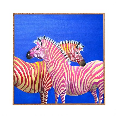 DENY Designs Clara Nilles Diva Zebras On Royal Sapphire Framed Wall Art 30x30""