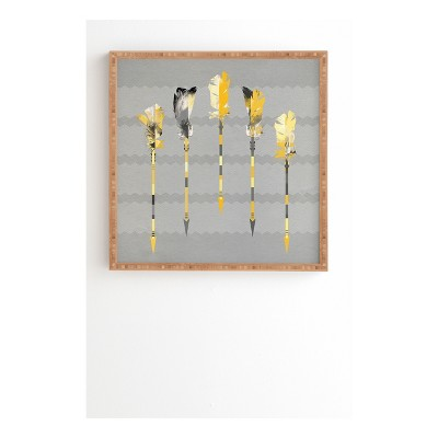 DENY Designs Iveta Abolina Gray Yellow Feathers Framed Wall Art 12x12""