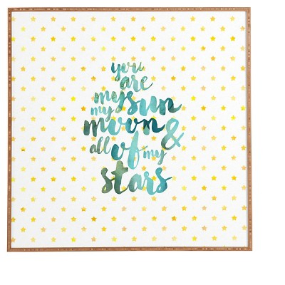 DENY Designs Hello Saying You Are My Sun My Moon and All Of My Stars Framed Wall Art 12x12""