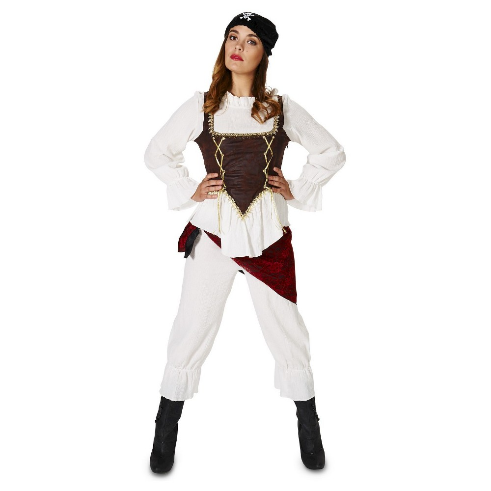 Pirate Lady With Bloomers Women's Costume Medium, White