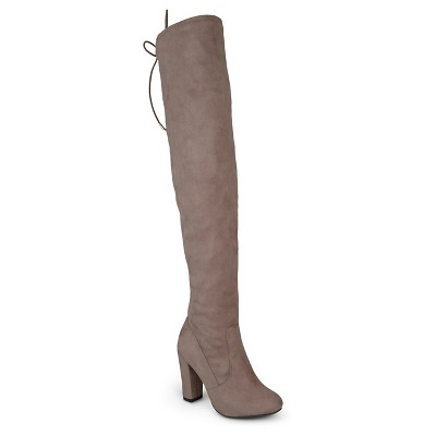 Women's Journee Collection Maya Faux Suede Over-the-knee Boots - Taupe 10