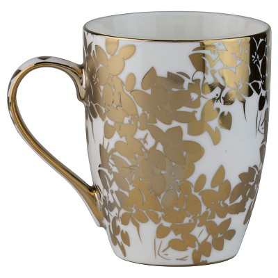 10 Strawberry Street Aspen Gold Leaves 10oz Mugs - Set of 4