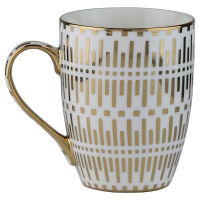 10 Strawberry Street Aspen Gold Lined 10oz Mugs - Set of 4