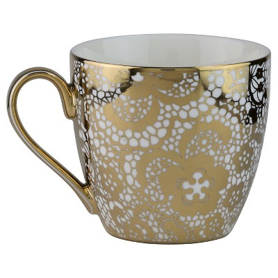 10 Strawberry Street Tap Gold Fluer Lace 16oz Mugs - Set of 4