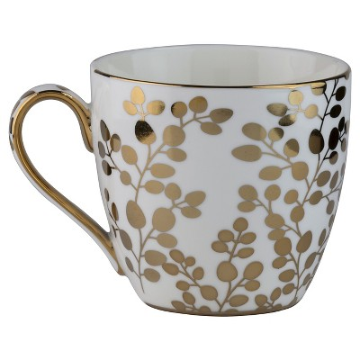 10 Strawberry Street Tap Gold Leaves 16oz Mugs - Set of 4