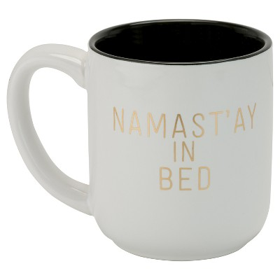 10 Strawberry Street Namast'ay In Bed 16oz Latte Mug - Gold