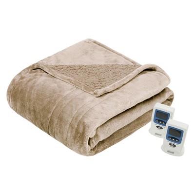 Microlight Berber Heated Blanket (Queen) Tan