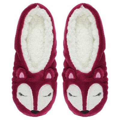 Charlotte Women's Fox Slipper Socks with Grippers - Burgundy M/L