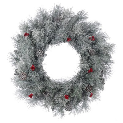 """24"""" Christmas Unlit Frosted Mix Berry Pine Artificial Wreath Green"""