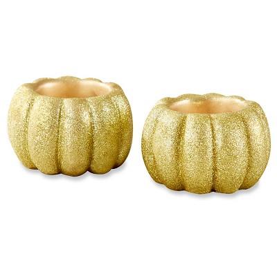Kate Aspen Gold Glitter Pumpkin Votive Holder (Set of 6)