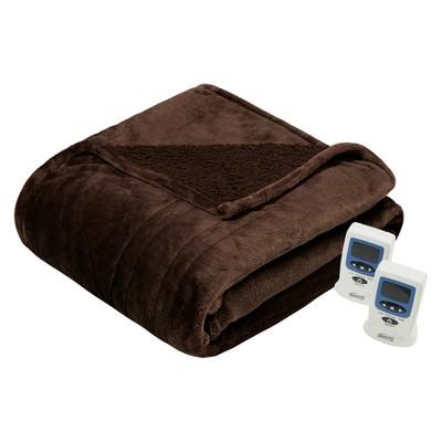 Microlight Berber Heated Blanket (King) Chocolate