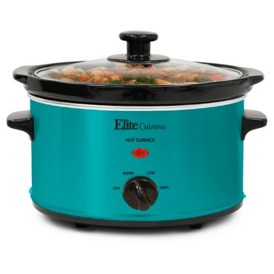 Elite Gourmet 2 Qt. Oval Slow Cooker -Turquoise