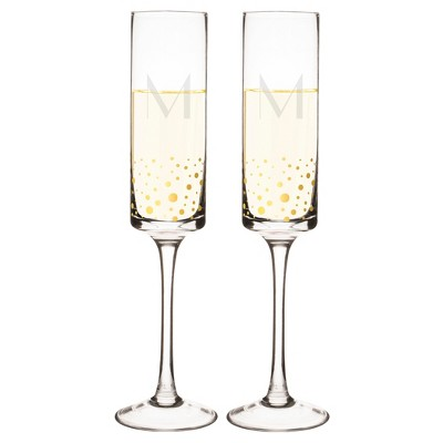 Monogram Gold Dot Champagne Flute (Set of 2) - M