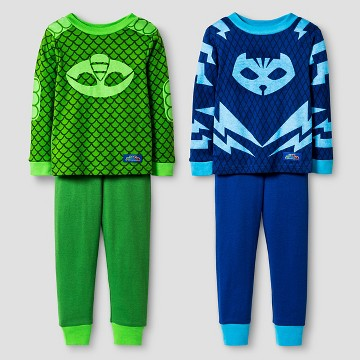 Toddler Boys' PJ Masks Catboy and Gekko 4-Piece Cotton Pajama Set Blue