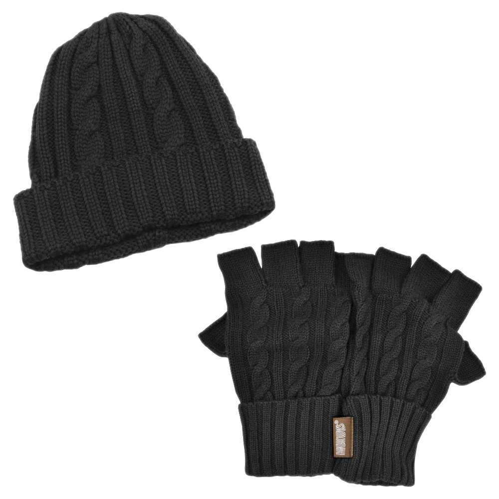 Men's Cable Knit Cuff Cap With Fingerless Gloves Set - Black