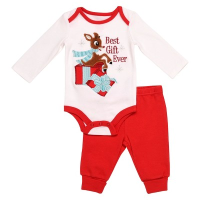 Rudolph the Red-Nosed Reindeer® Baby Best Gift Ever Bodysuit & Pant Set - Red/White 3M