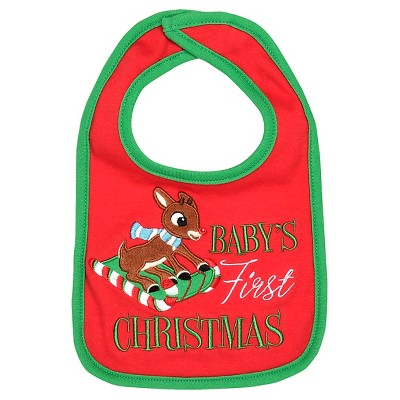 Rudolph the Red-Nosed Reindeer® Baby Bib - Red/Green