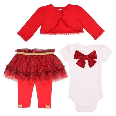 Baby Starters® Baby Girls' Holiday Tutu Set - Red/White 3M