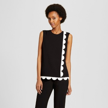 Women's Black Twill Tank Top with Asymmetric Scallop Trim - Victoria Beckham for Target