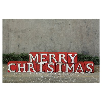 Merry Christmas Wooden Blocks Decor