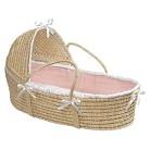 Badger Basket Hooded Moses Basket - Pink Waffle