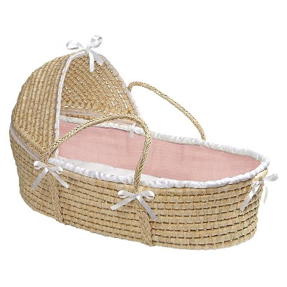 Badger Basket Hooded Moses Basket - Pink Waffle