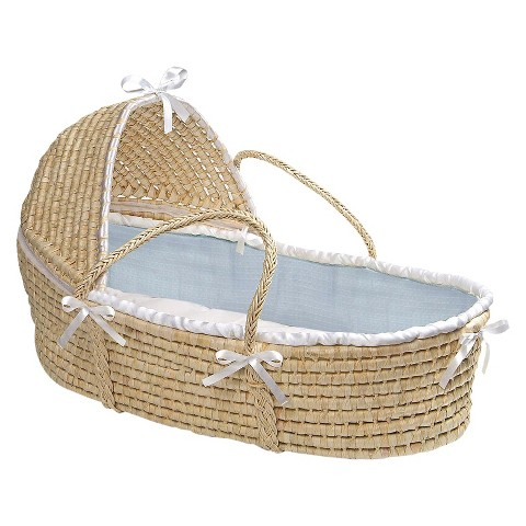 Badger Basket Hooded Moses Basket - Blue Waffle